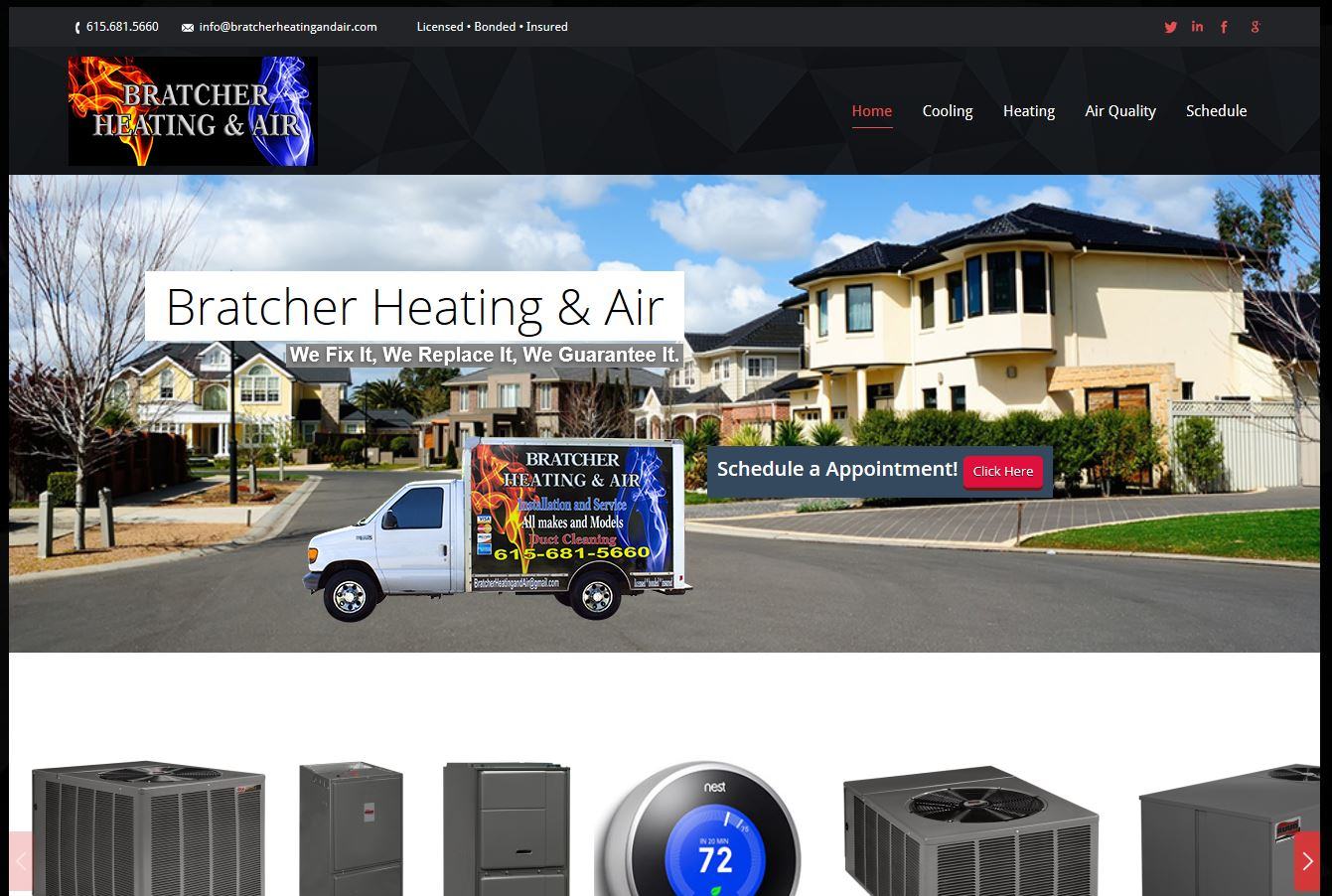 Bratcher Heating & Air Website